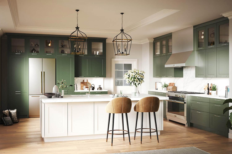 moderne Landhausküche in Olivgrün mit weißer Kochinsel