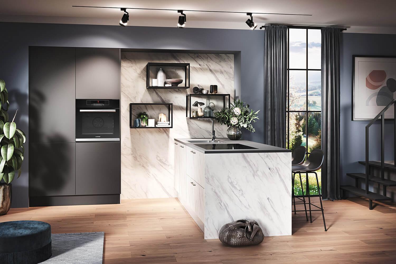 luxuriöse Küche in Marmor-Optik mit Graphit-Grau Elementen