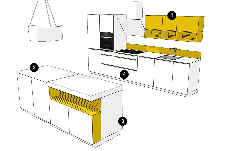 moderne Küchenplanung mit Kücheninsel in weiß mit gelben Akzenten